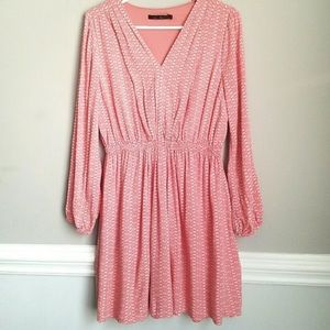 Doe & Rae v neck long sleeve RAYON peachY dress